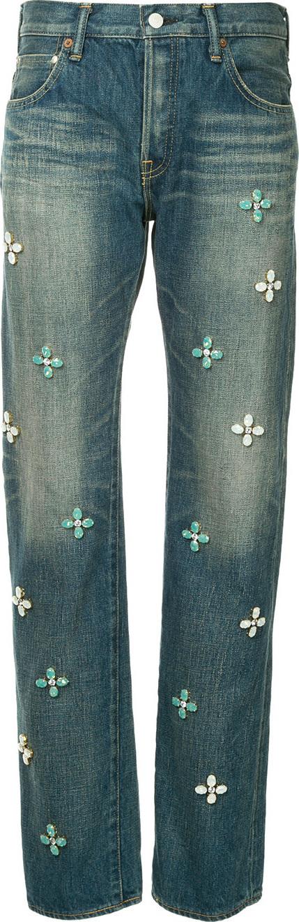 Tu Es Mon Tresor Bijoux flower Antique jeans