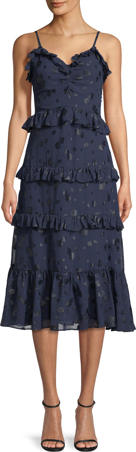 MICHAEL MICHAEL KORS Tiered-Ruffle Dot-Print Midi Dress