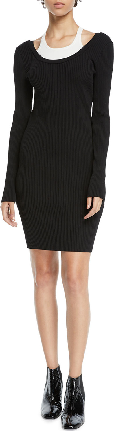 T By Alexander Wang Fitted Long-Sleeve Layered Viscose Short Dress