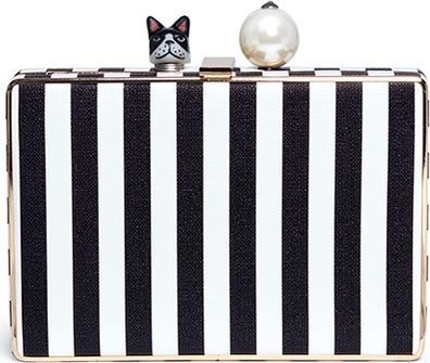 Cecilia Ma 'Perna' bulldog charm stripe leather box clutch