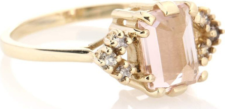 Anna Sheffield Bea Arrow 14kt yellow gold, diamonds and morganite ring