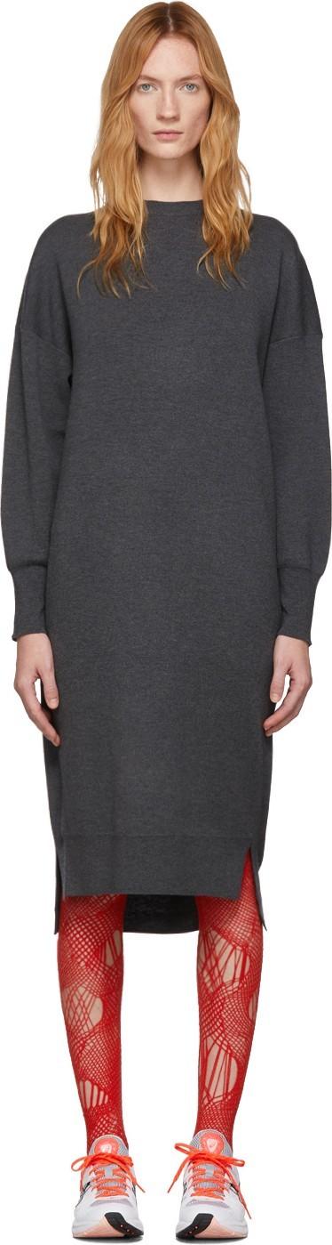 Enfold Grey Wool Asymmetry Dress