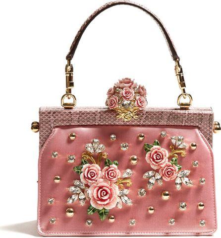 Dolce & Gabbana Vanda rose-embellished satin and snakeskin bag