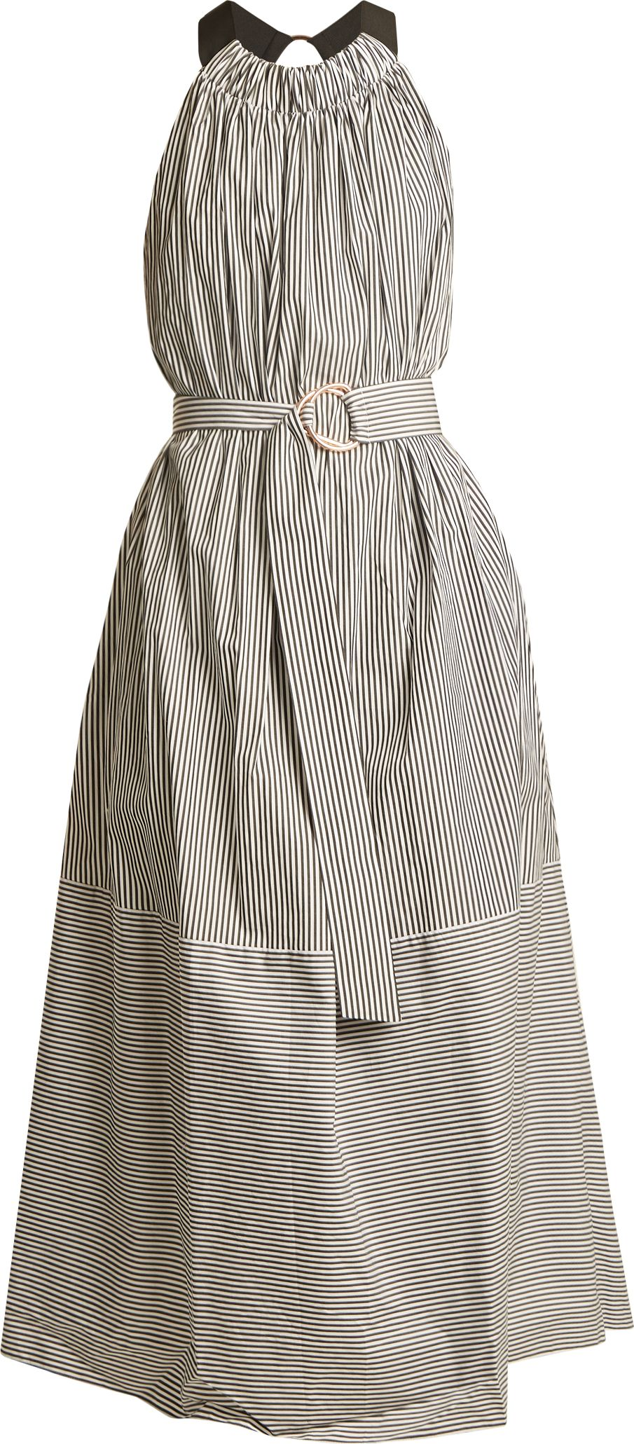 Tibi - Ruffled halterneck striped cotton dress