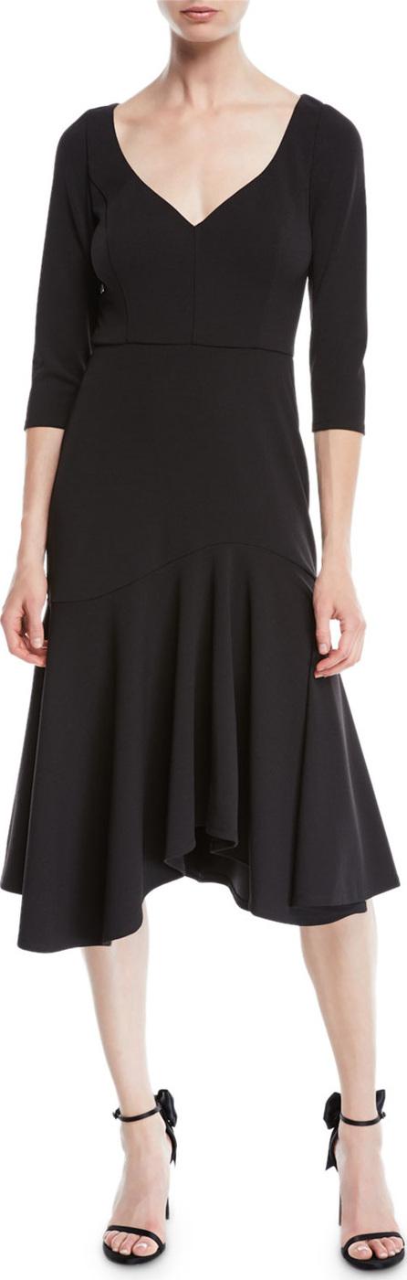 HALSTON HERITAGE V-Neck Midi Dress w/ Flounce Skirt