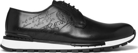 Berluti Fast Track Logo-Embossed Leather Sneakers