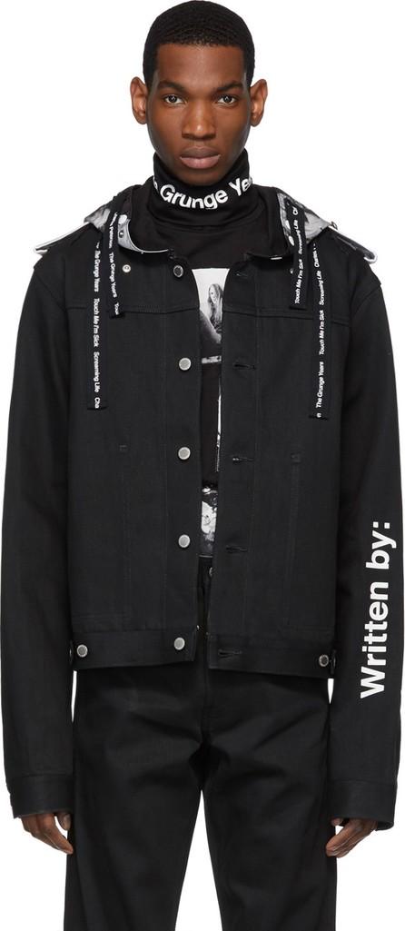 Takahiromiyashita The Soloist Black Denim Wrapped Collar Jacket