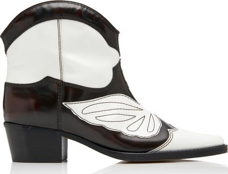 Ganni Meg Leather Cowboy Ankle Boots