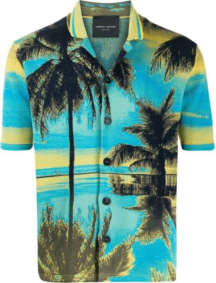 Roberto Collina Knitted palm tree-print shirt