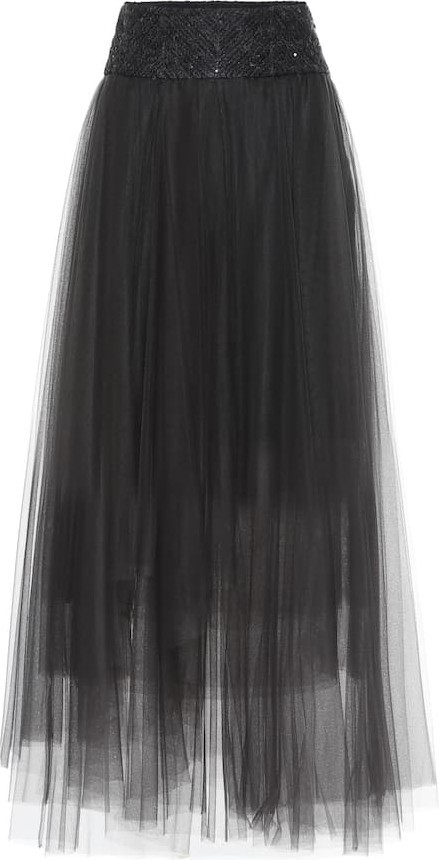 Brunello Cucinelli Embellished tulle maxi skirt