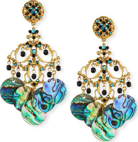 Jose & Maria Barrera Abalone Disc Chandelier Clip-On Earrings