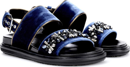 Marni Embellished velvet sandals