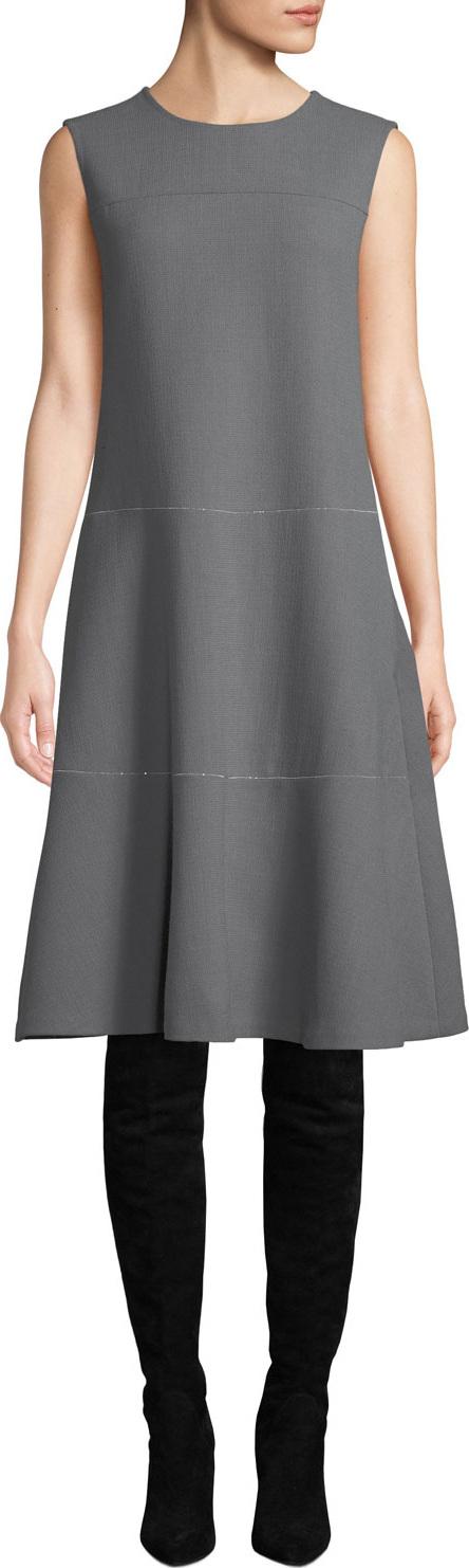 Lafayette 148 New York Colby Sleeveless Wool Crepe Shift Dress w/ Chain Detail