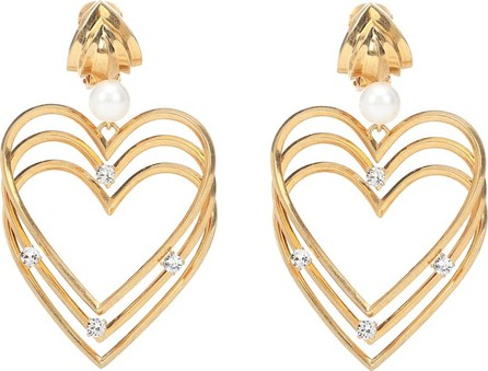 Balenciaga Crystal and faux pearl earrings