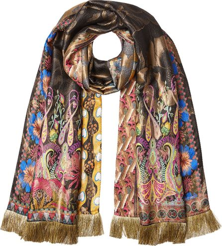 Etro Printed Scarf with Silk and Metallic Thread