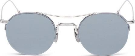 Thom Browne Browbar mirror metal round sunglasses