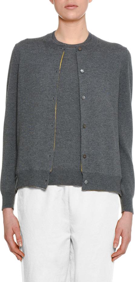 Marni Button-Front Wool-Silk Cardigan w/ Silk-Print Lining