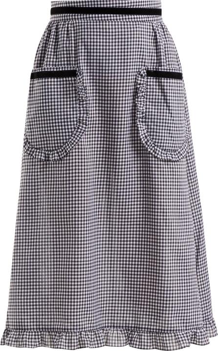 Batsheva Gingham ruffle-trimmed cotton skirt
