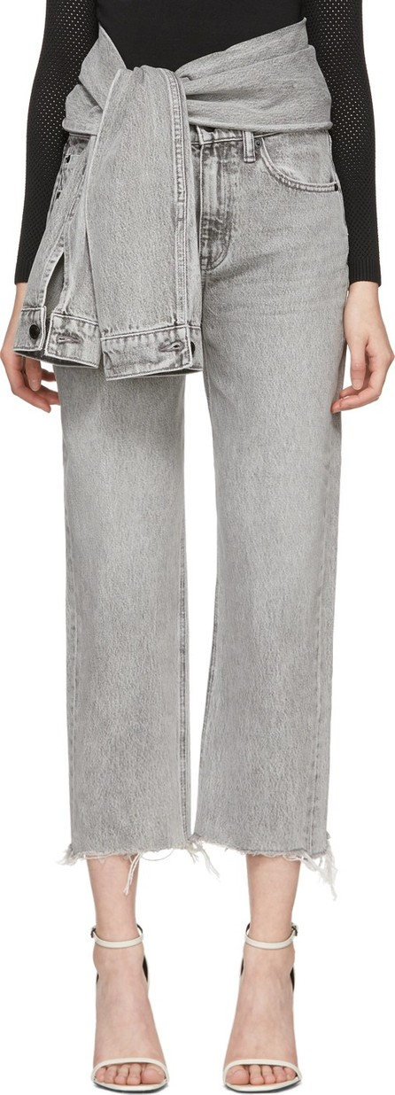 Alexander Wang Grey Stack Crop Tie Jeans