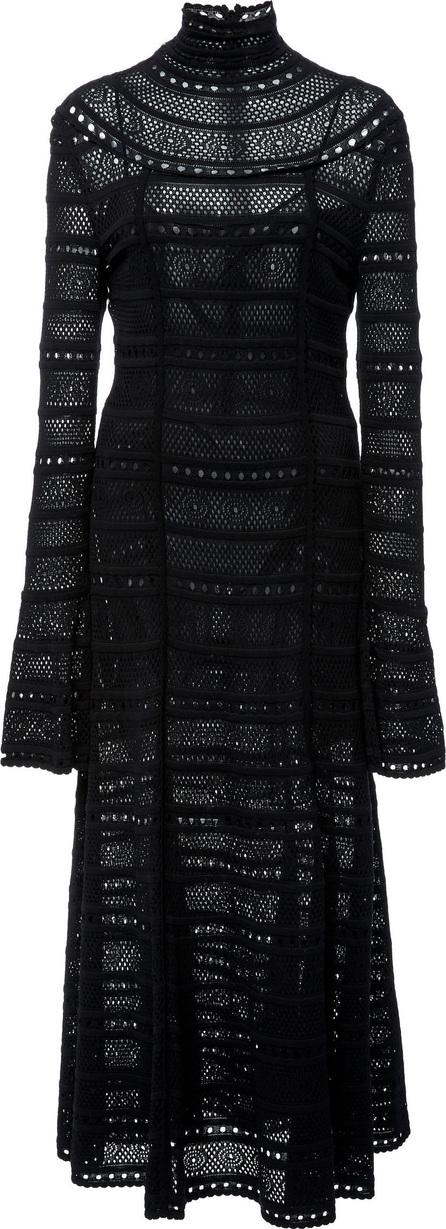 Oscar De La Renta Crochet-Knit Lace Turtleneck Dress
