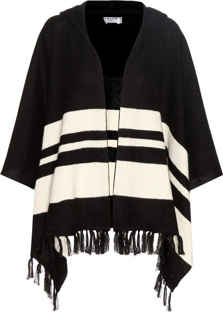 FRAME DENIM Le Hooded striped alpaca poncho