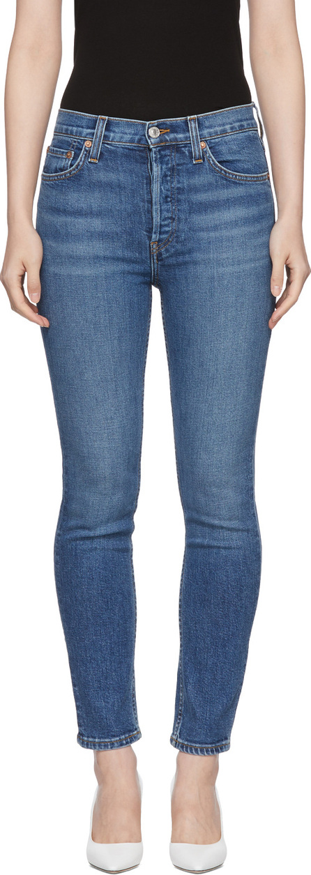 RE/DONE Blue Originals High-Rise Ankle Crop Jeans