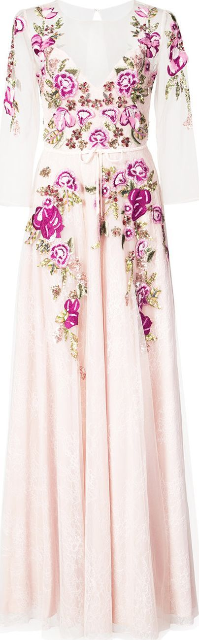 Marchesa Notte floral embroidered lace gown