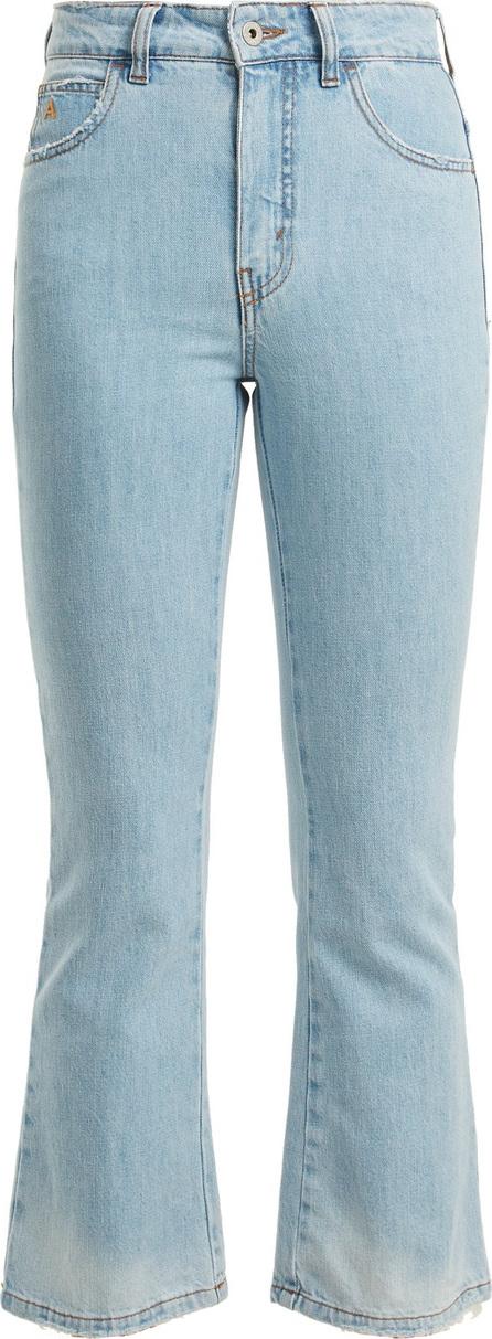 Attico Distressed kick-flare cropped jeans