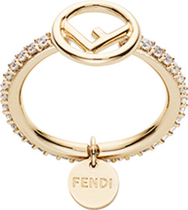 Fendi Embellished logo ring