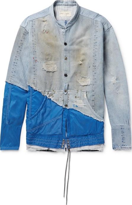 Greg Lauren + Birdwell Grandad-Collar Panelled Distressed Denim and Nylon Shirt