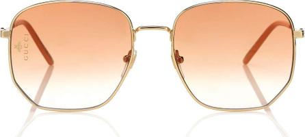 Gucci Rectangular-frame metal sunglasses