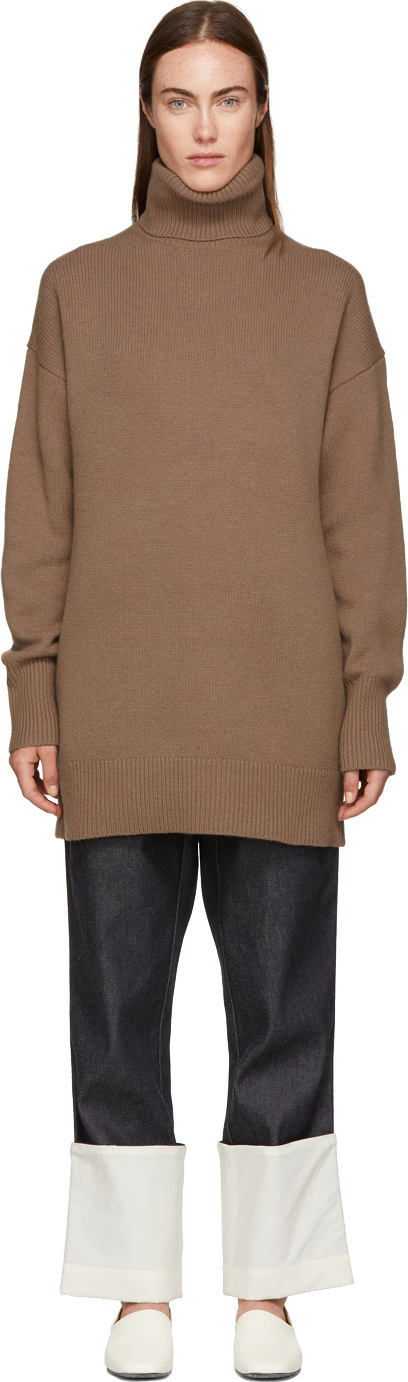 Joseph Brown Wool Oversized Turtleneck