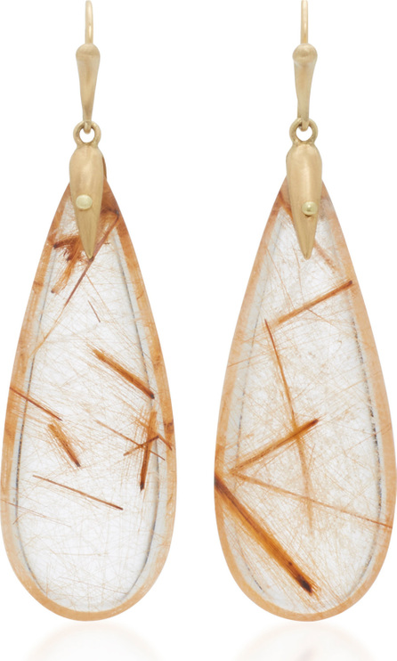 Annette Ferdinandsen 18K Gold Rutilated Quartz Earrings