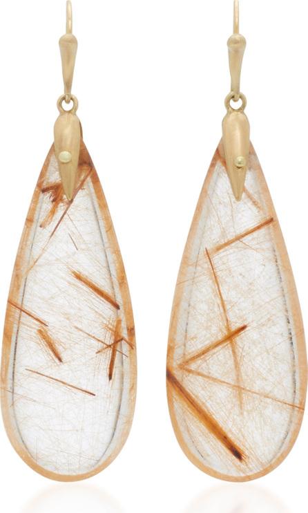 Annette Ferdinandsen 18K Gold Rutilated Quartz Earrings
