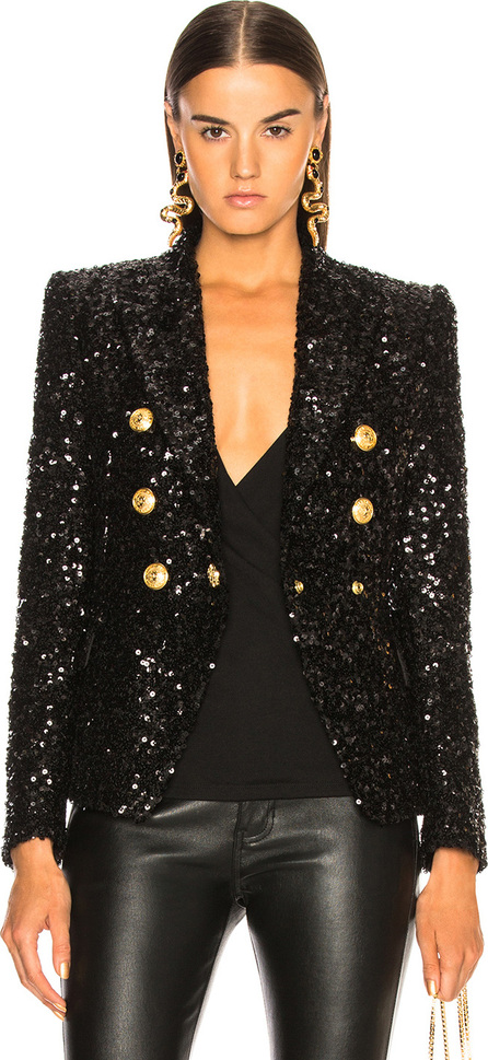 Sequin Double Breasted Blazer