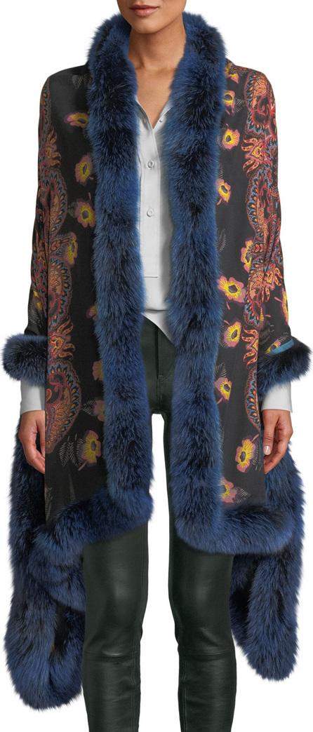 Etro Shaal-Nur Poppy Paisley Shawl w/ Fur Trim