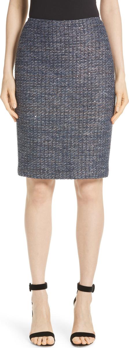 St. John Copper Sequin Tweed Knit Skirt