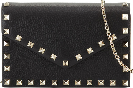 Valentino Rockstud Small Leather Flap Wallet on a Chain