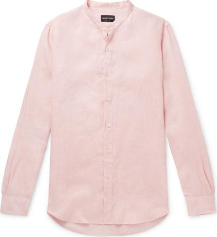 Giorgio Armani Nehru Grandad-Collar Linen Shirt