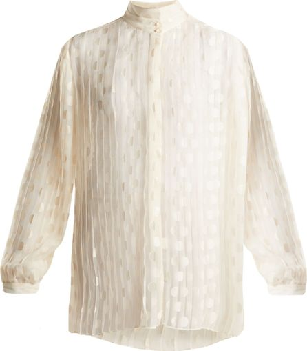 Zimmermann Rife high-neck pleated polka-dot blouse
