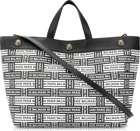 Balmain Coated canvas and Leather Shopping Bag
