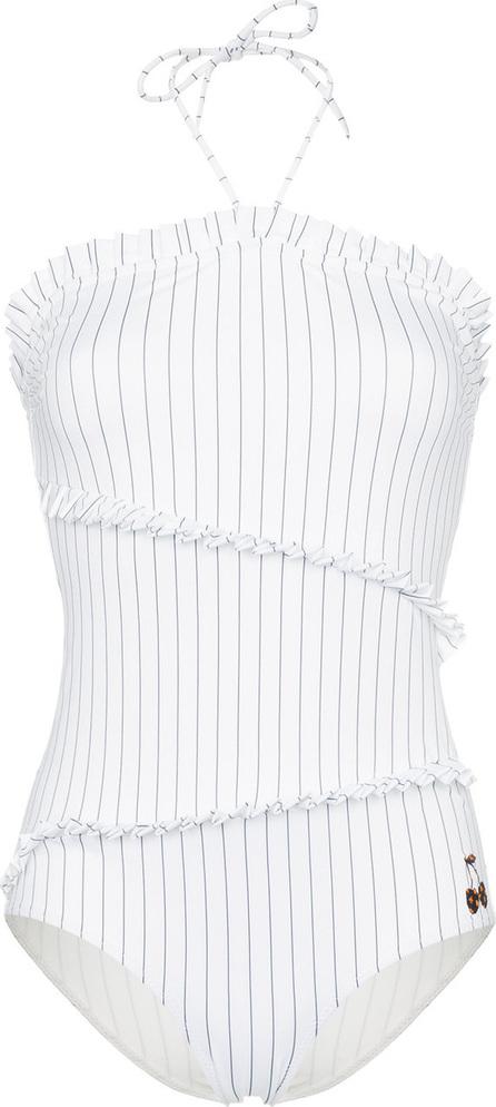 Ganni White stripe ruffle swimsuit