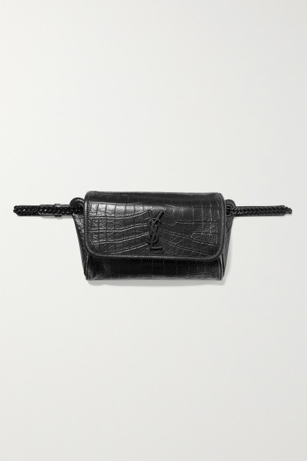 Saint Laurent Niki medium glossed croc-effect leather belt bag