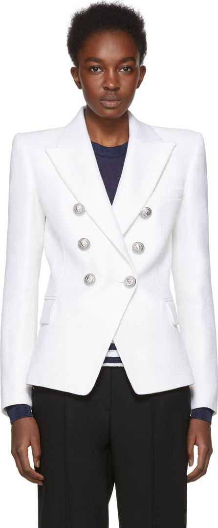Balmain White Double-Breasted Cinched Blazer