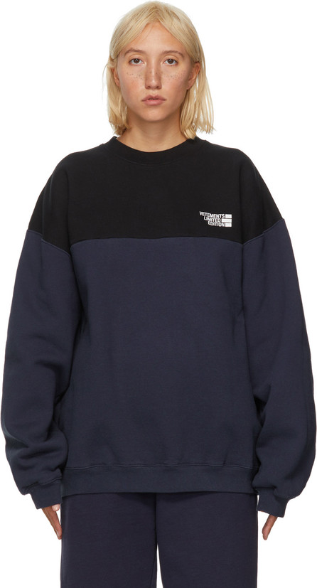 Vetements Black & Blue Cut-Up Logo Sweatshirt