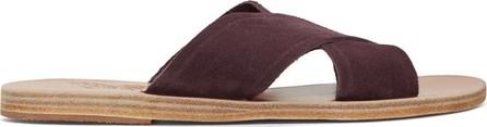 Ancient Greek Sandals Purple Suede Thais Sandals