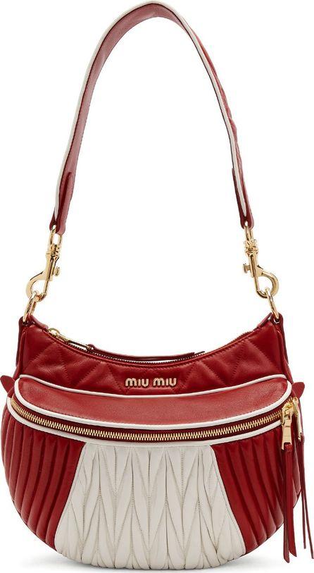 Miu Miu Red & White 'MIU' Rider Bag