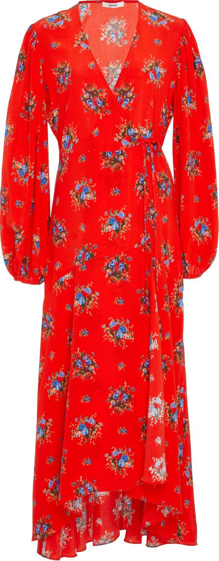 Ganni Kochhar Floral-Print Silk Crepe De Chine Wrap Dress