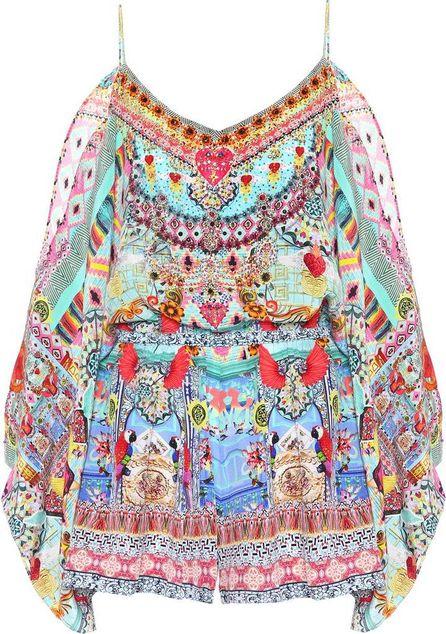 Camilla Embellished silk playsuit