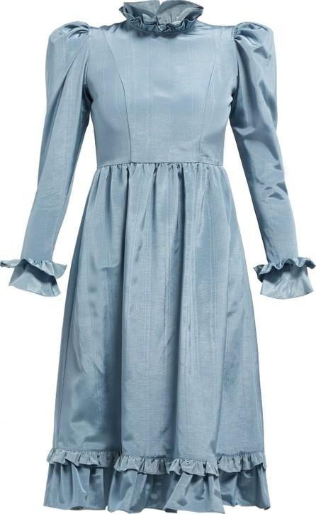 Batsheva Moire high-neck ruffled dress